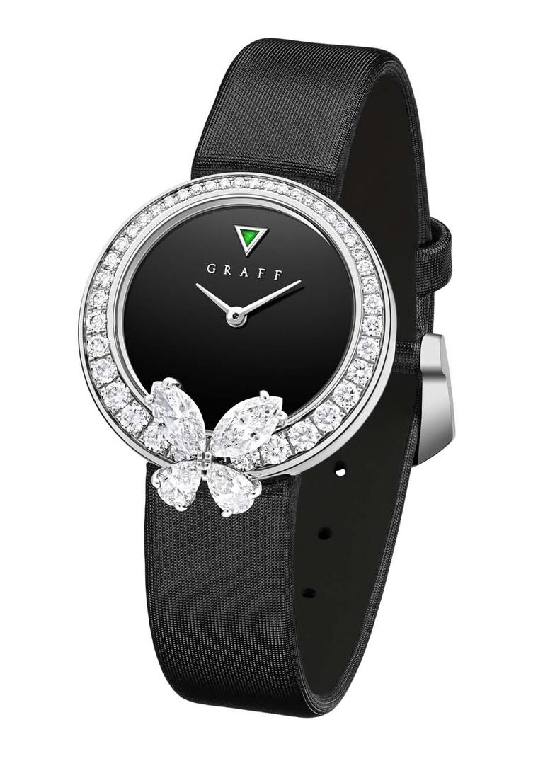 A triangle-cut emerald is the only flash of colour on Graff's diamond-set Classic Butterfly watch