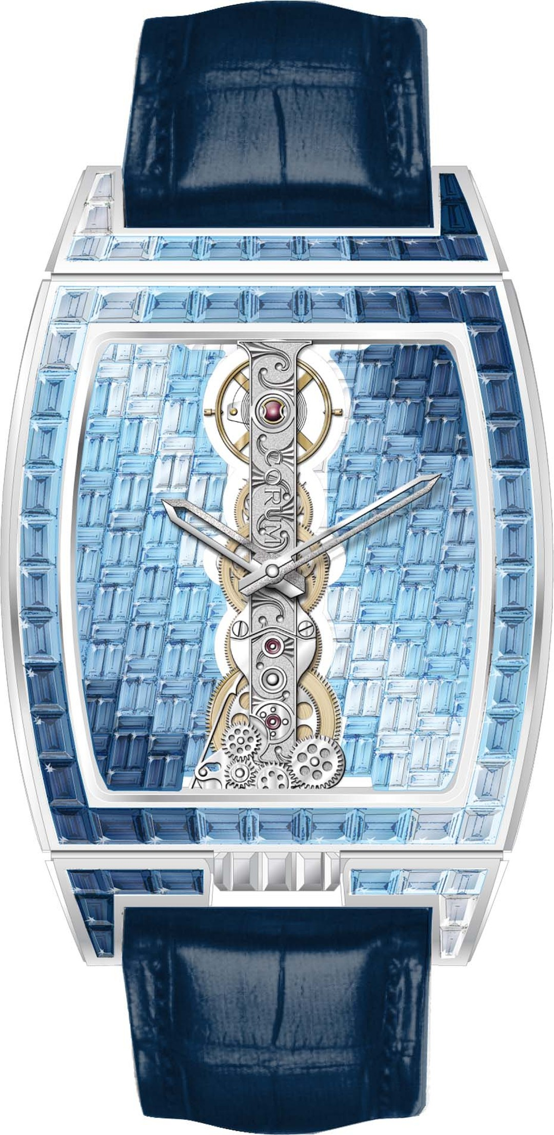 A spectacular interpretation of Corum's Golden Bridge, with the watch mechanism reduced to a thin strip, further enhanced by a cross-hatch pattern of sapphires