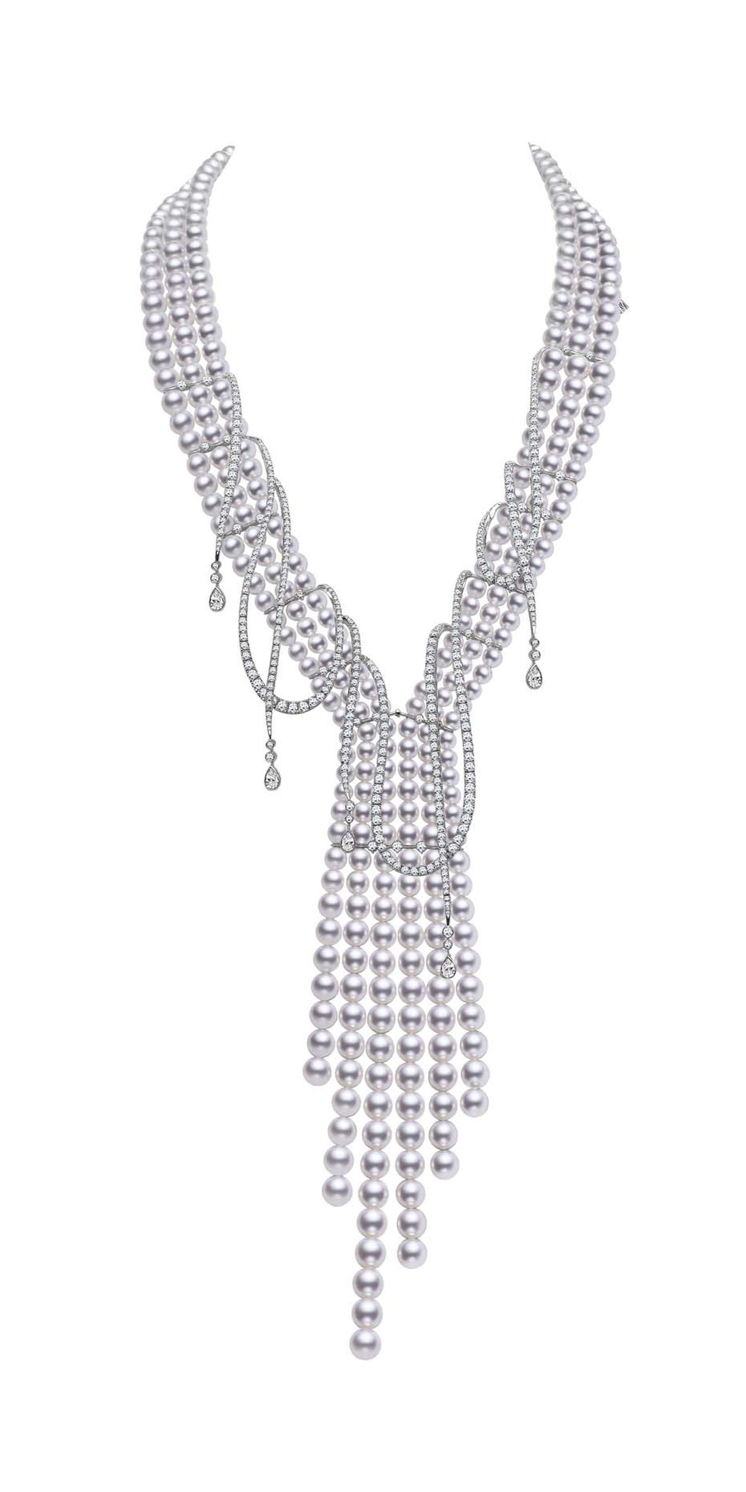 Mikimoto Regalia Collection Ayoka Cascade necklace featuring baroque South Sea pearls and diamonds