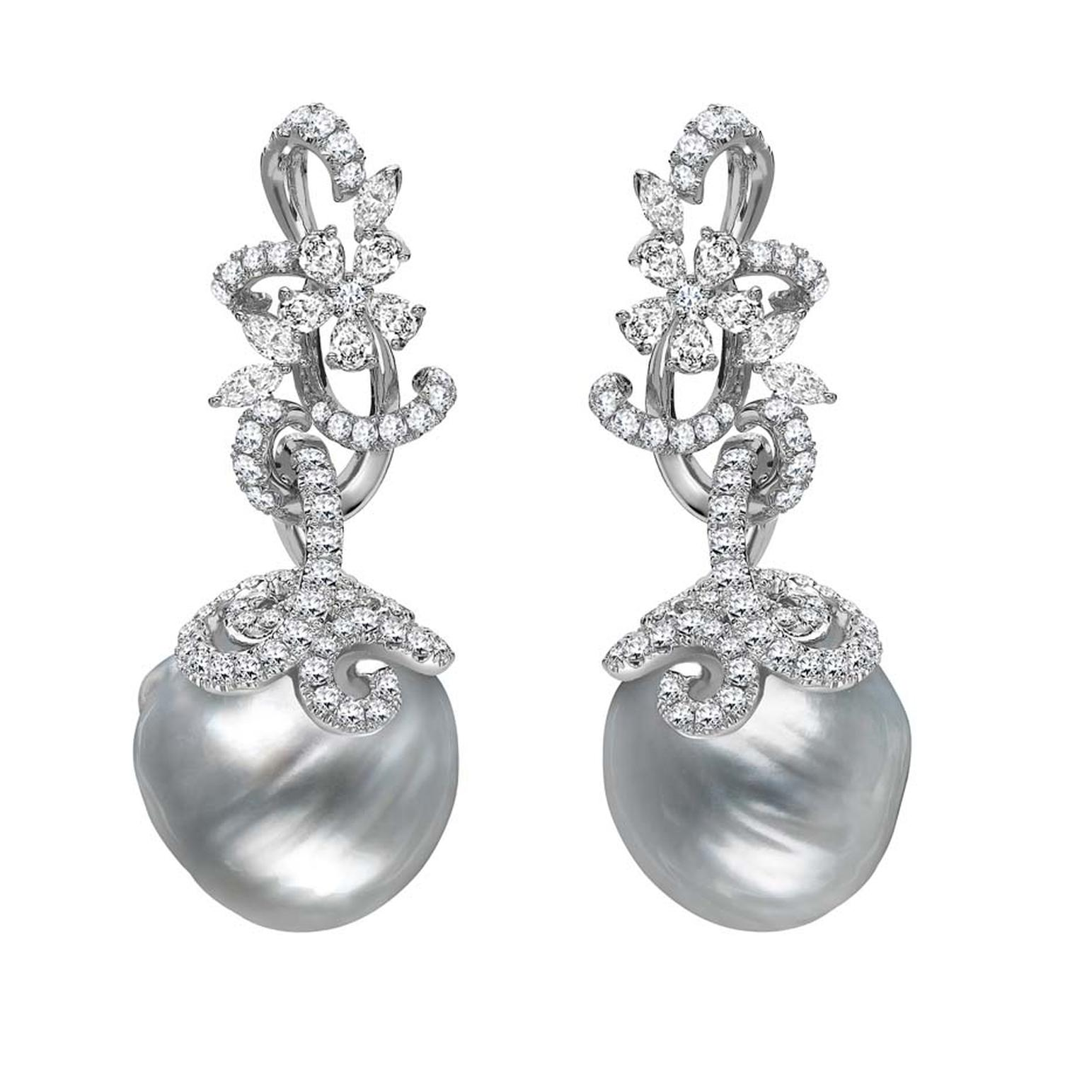 Mikimoto Regalia Collection Arabesque earrings featuring white South Sea baroque pearls entwined in white gold, platinum and diamond-set foliage
