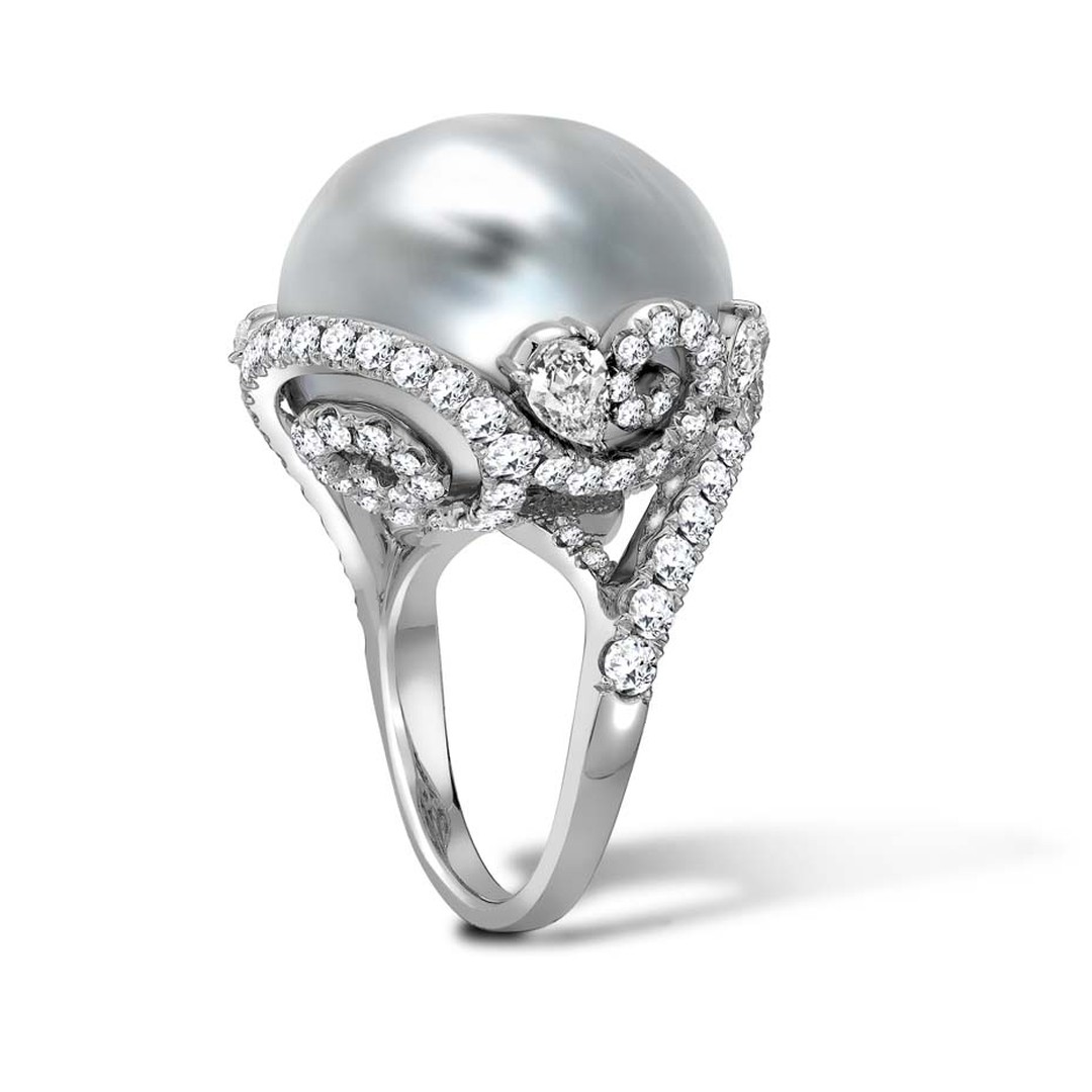 Mikimoto Regalia Collection Arabesque ring featuring a white South Sea baroque pearl entwined in white gold, platinum and diamond-set foliage.