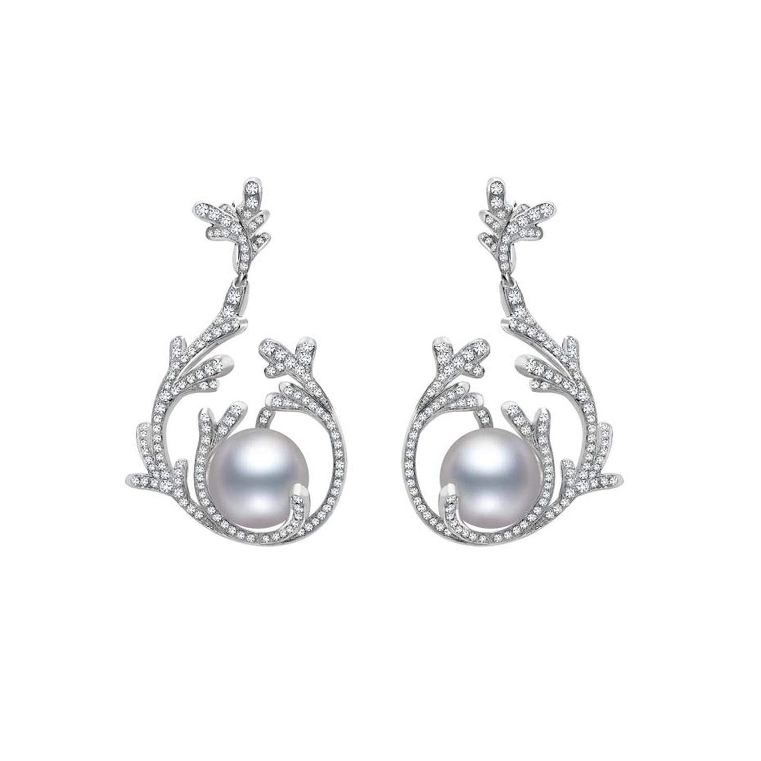 Mikimoto Regalia Collection Coral earrings featuring South Sea baroque pearls and diamonds in white gold, designed to mimic the antler-like branches of coral