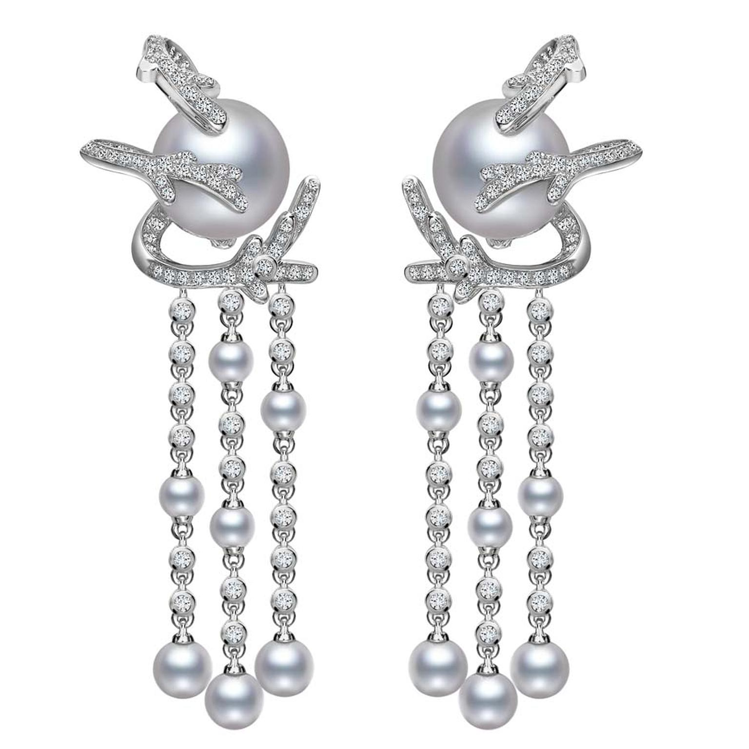 Mikimoto Regalia Collection Coral chandelier earrings featuring baroque South Sea pearls and diamonds in white gold