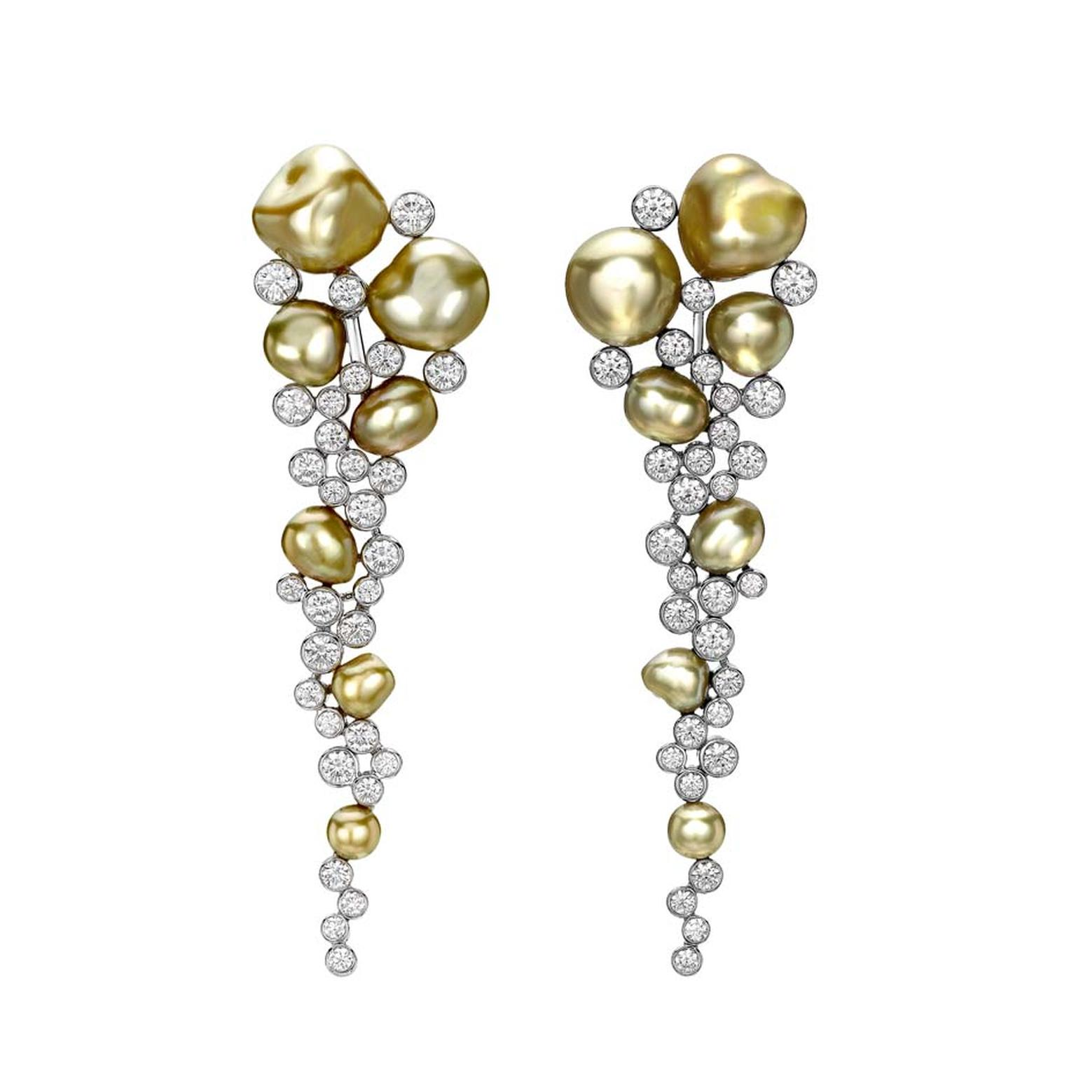 Mikimoto Regalia Collection Gold Cascade earrings with gold pearls and diamonds in white gold