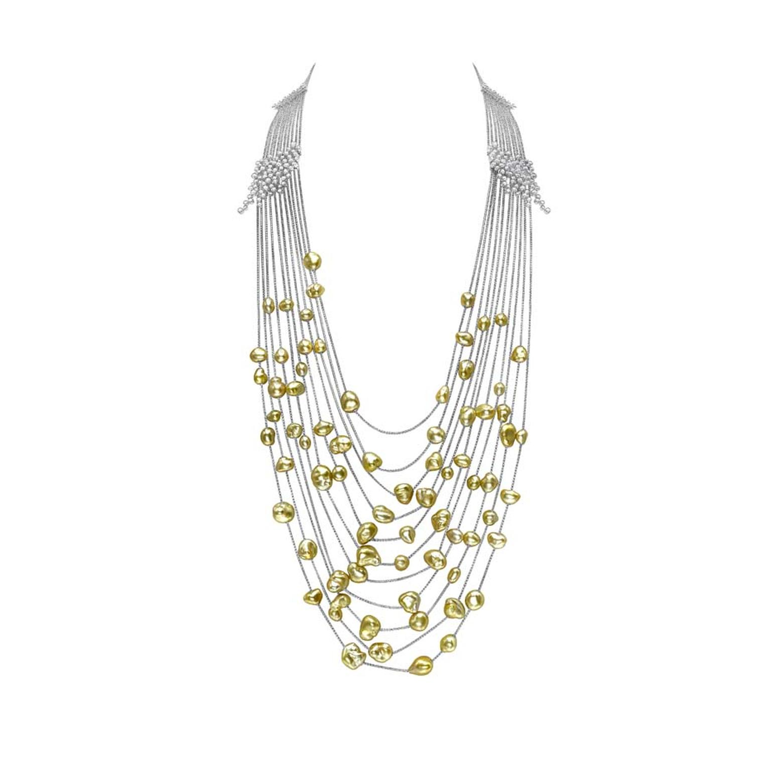 Mikimoto Regalia Collection Gold Cascade necklace featuring gold pearls amidst round diamonds and white gold