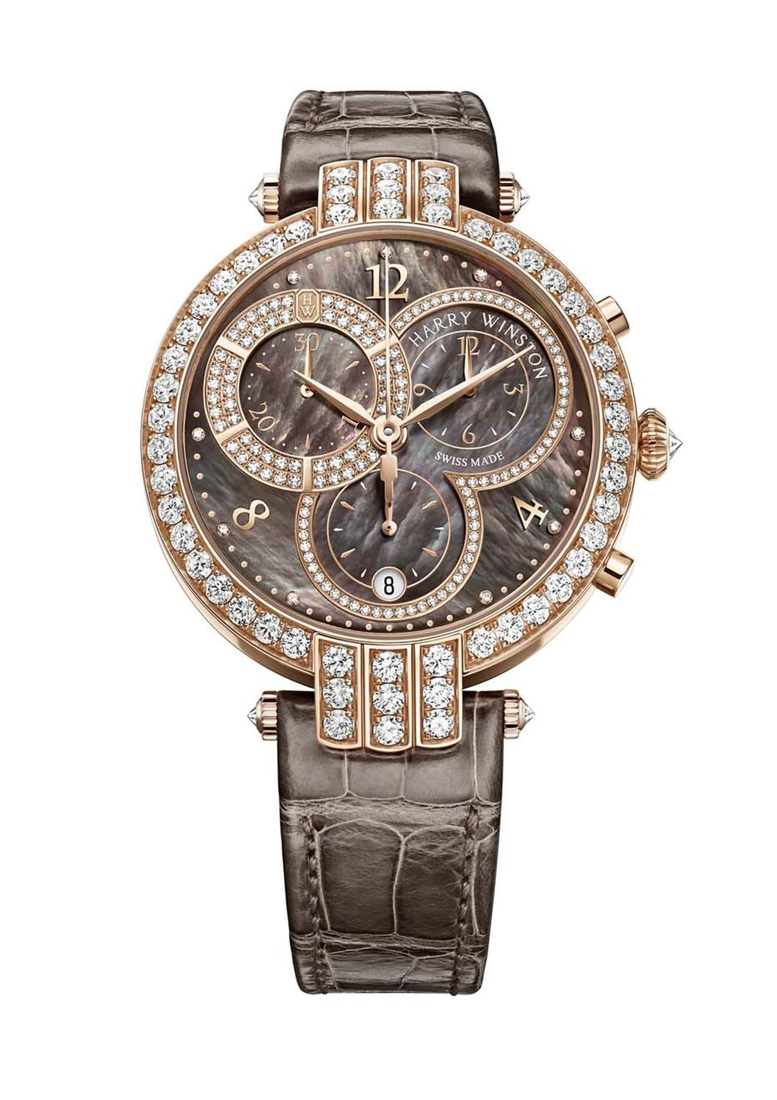 Harry Winston's Premier Chronograph featuring a brown Tahitian mother-of-pearl dial and 236 brilliant-cut diamonds totalling 3.61 carats in a rose gold case.