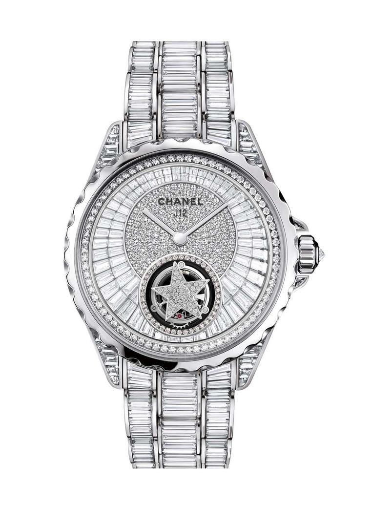 Chanel J12 Flying Tourbillon features a diamond-set star surrounded by a galaxy of diamonds on the dial, case and bracelet.