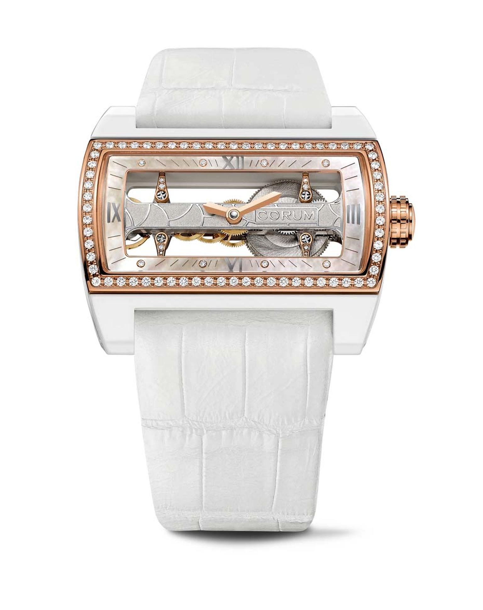 Corum Ti-Bridge Lady displays a hand-wound movement built entirely along one narrow axis and is on view through the all-glass dial and case back.