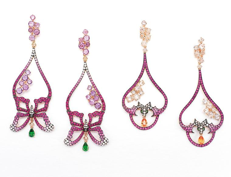 Wendy Yue earrings with multi-coloured gemstones and diamonds