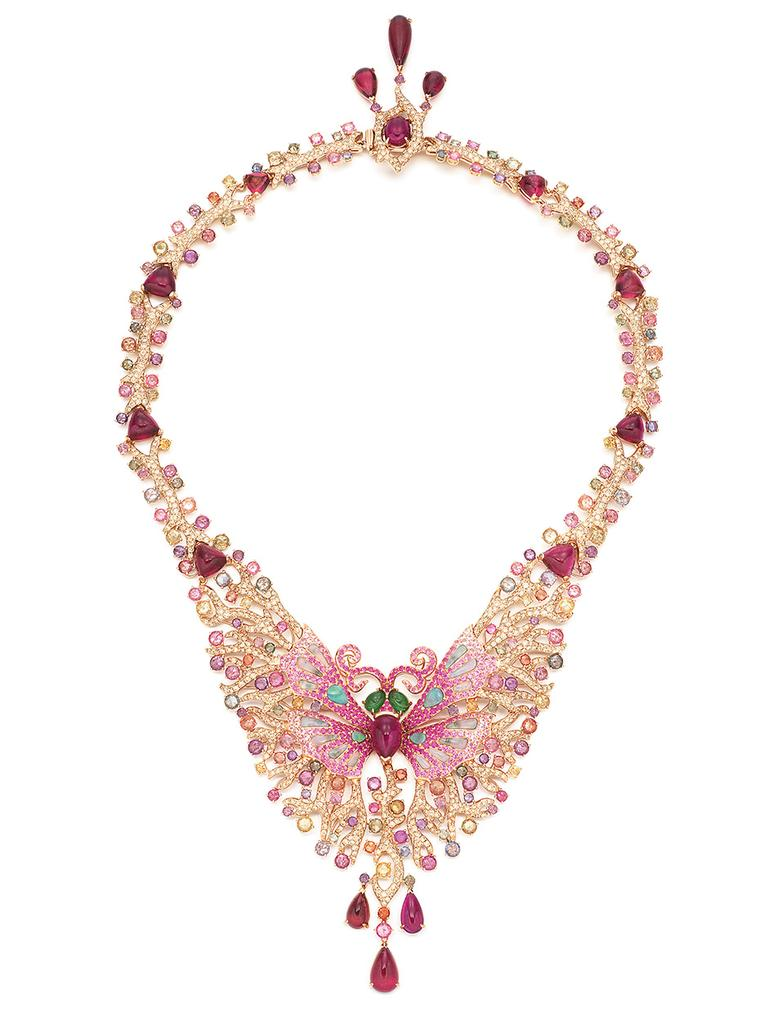 Wendy Yue Lady butterfly necklace with brown diamonds, opals, rhodolite garnets, green garnets, pink sapphires, diamonds and purple sapphires