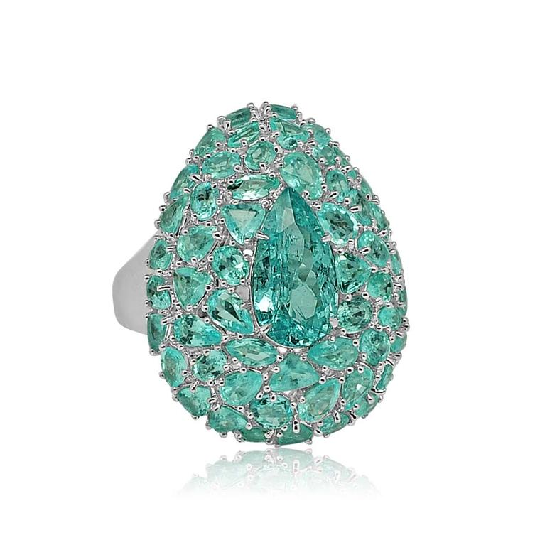 Sutra Paraiba ring in white gold set with 10.50ct Paraiba tourmalines