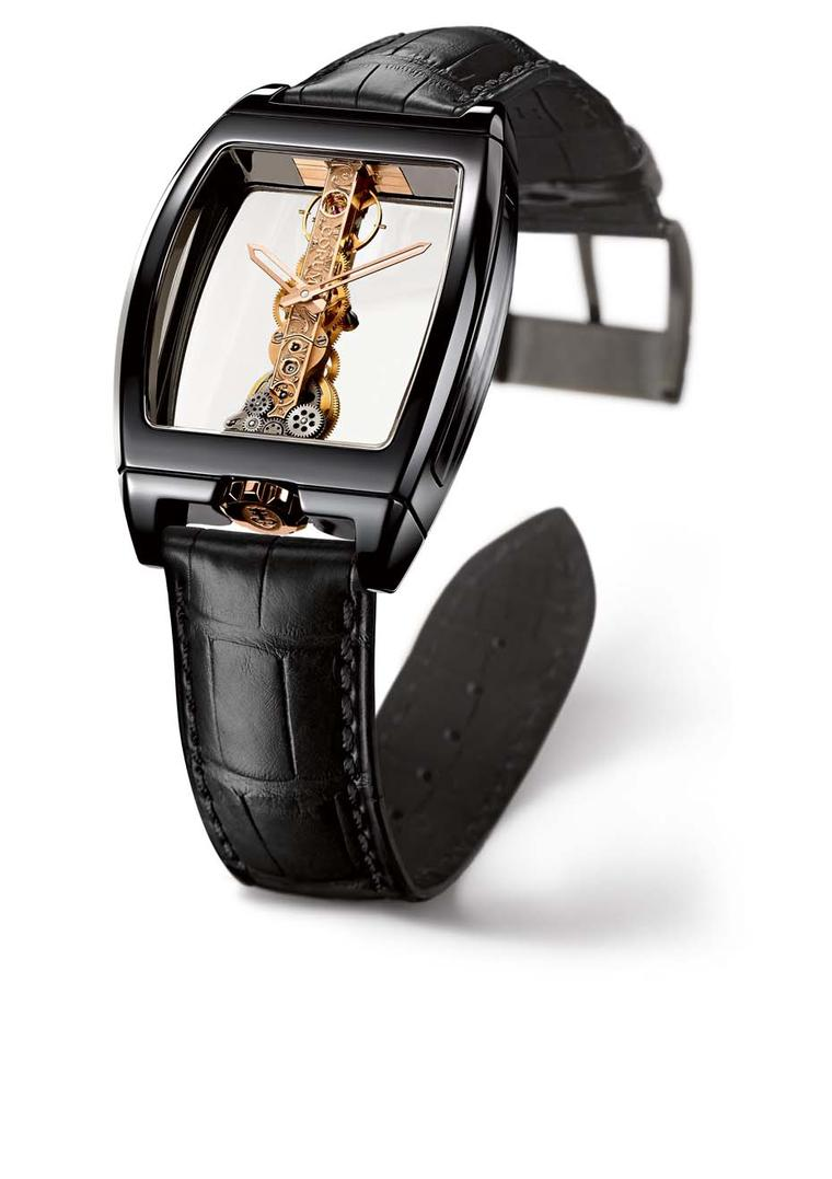Corum's Golden Bridge Ceramic Noire features a gold movement set along just one slim axis with its entire workings visible through the see-through construction of the watchcase.