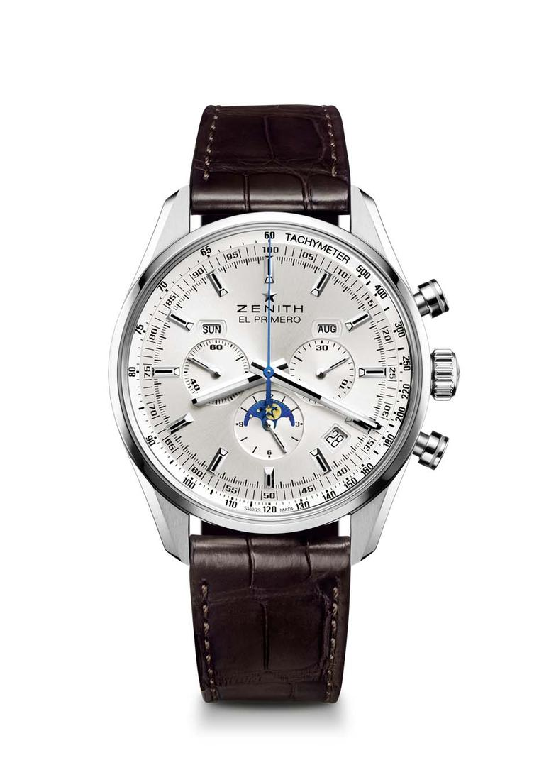 First introduced in 1969, the new 2014 Zenith El Primero 410 includes new technical features such as the addition of a triple calendar and a Moon phase indicator.