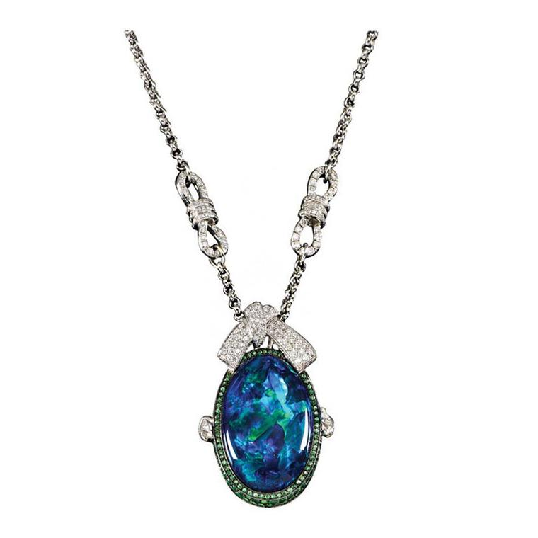 Mauboussin necklace in white gold, set with a rare 22.63ct Australian Lighting Ridge black opal, tsavorite garnets and diamonds