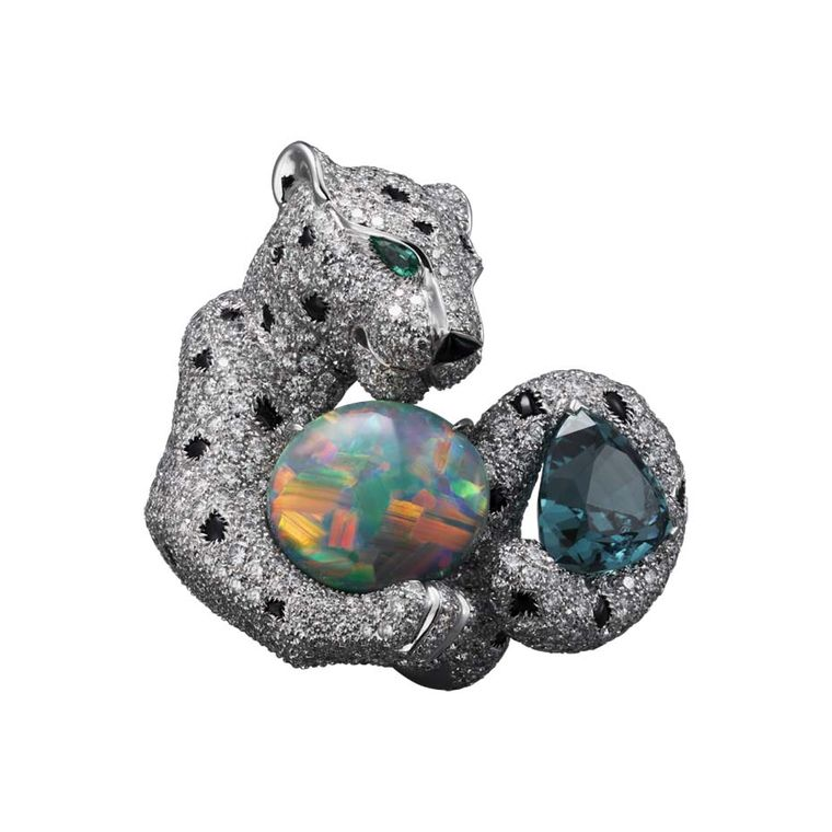 Panthère de Cartier high jewellery ring in white gold, set with one cabochon-cut opal