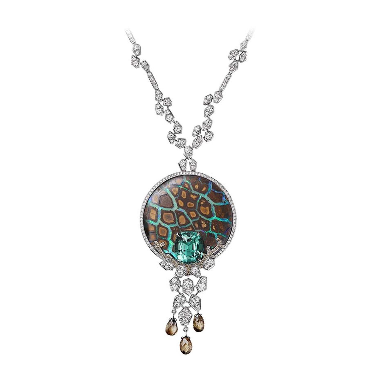 L'Odyssée de Cartier High Jewellery necklace in platinum, set with an opal, 9.28ct cushion-shaped emerald, brown diamonds and brilliant-cut diamonds