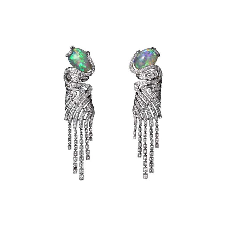 L'Odyssée de Cartier High Jewellery earrings in platinum, with two cabochon-cut opals and diamonds
