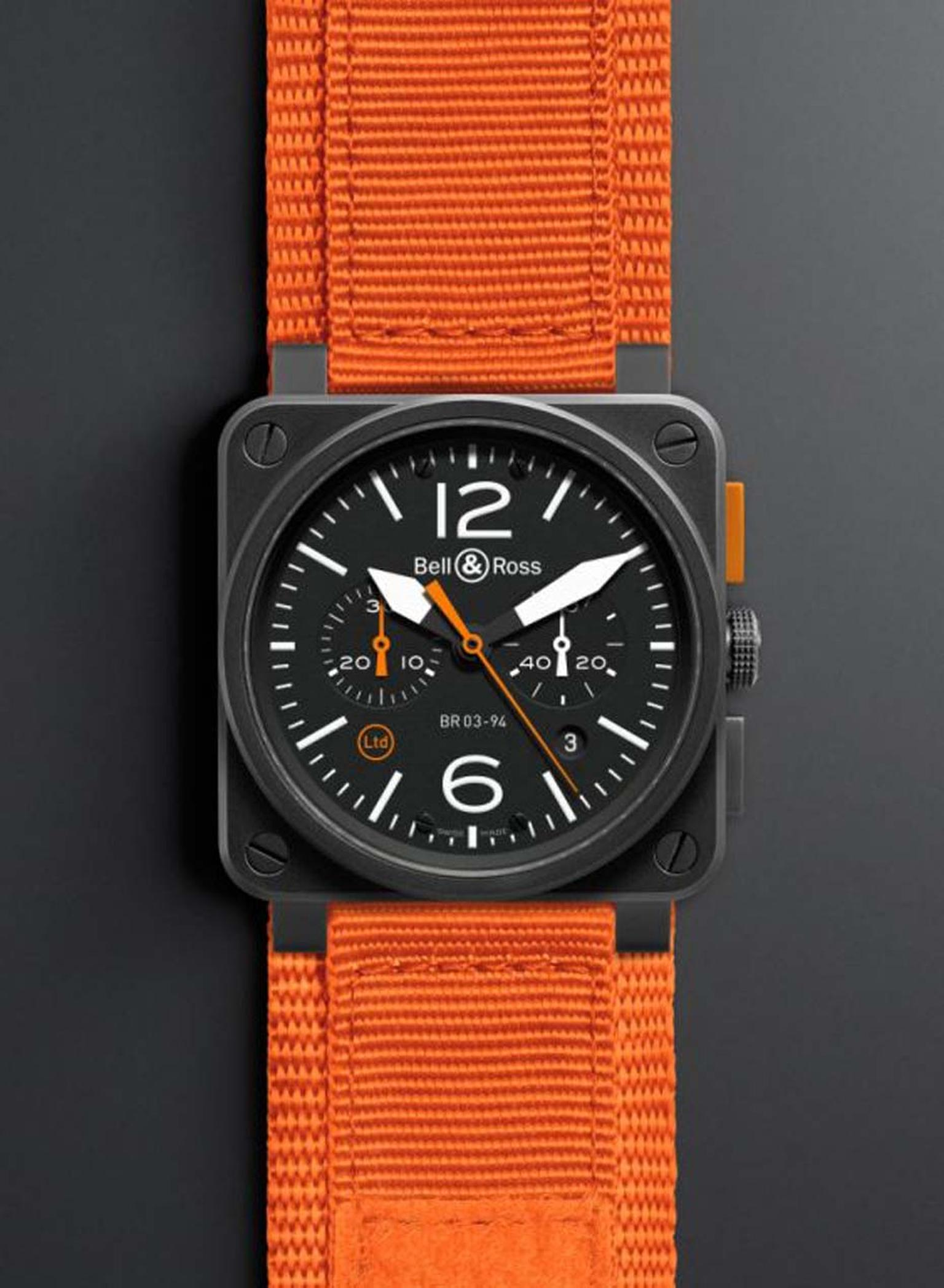 Bell & Ross' BR 03-94 carbon watch with orange strap comes in a limited edition of 500 pieces.