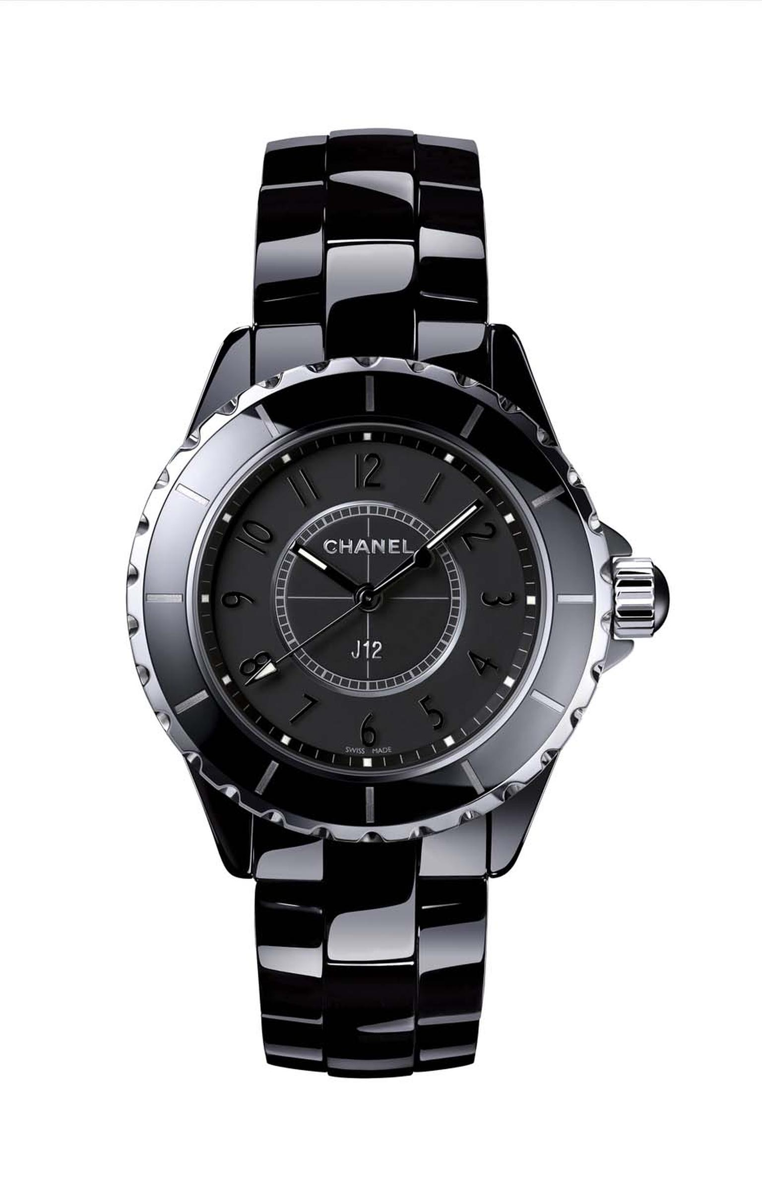 Chanel's J12 Intense Black watch in high-tech black ceramic is fitted with a high-precision quartz movement