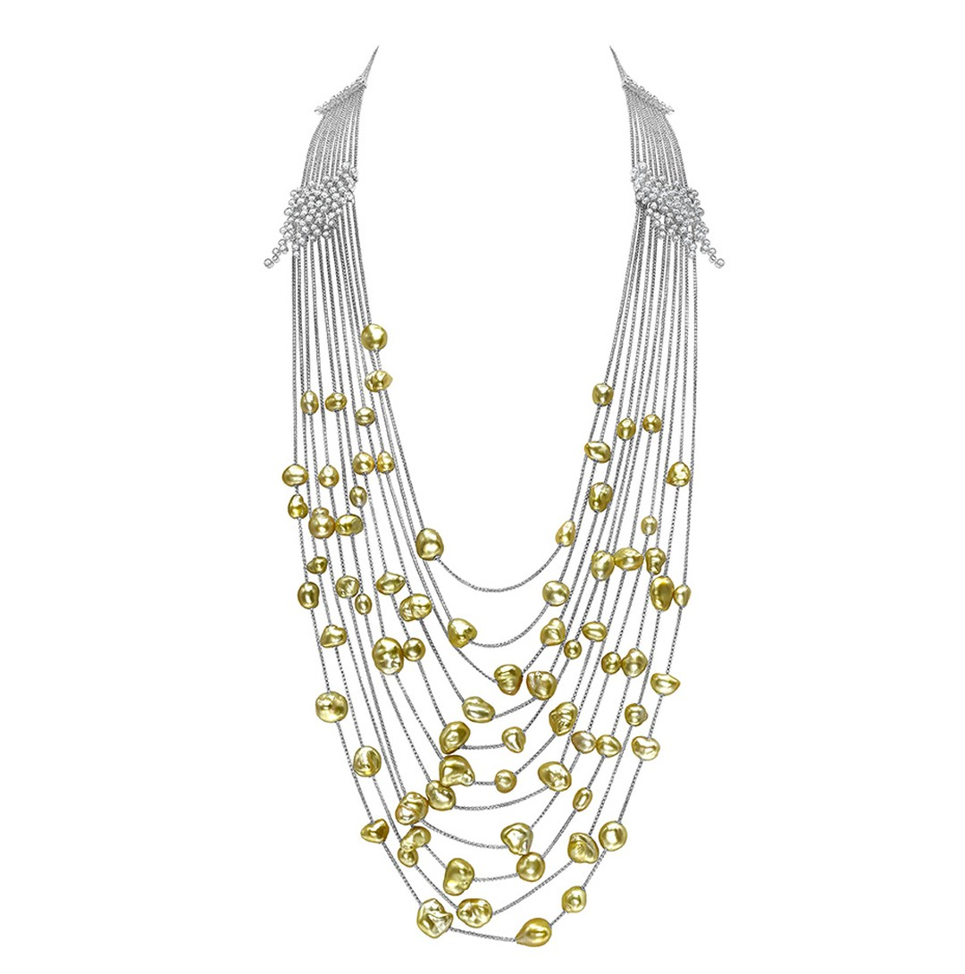 Mikimoto Gold Cascade necklace featuring gold pearls and diamonds in white gold