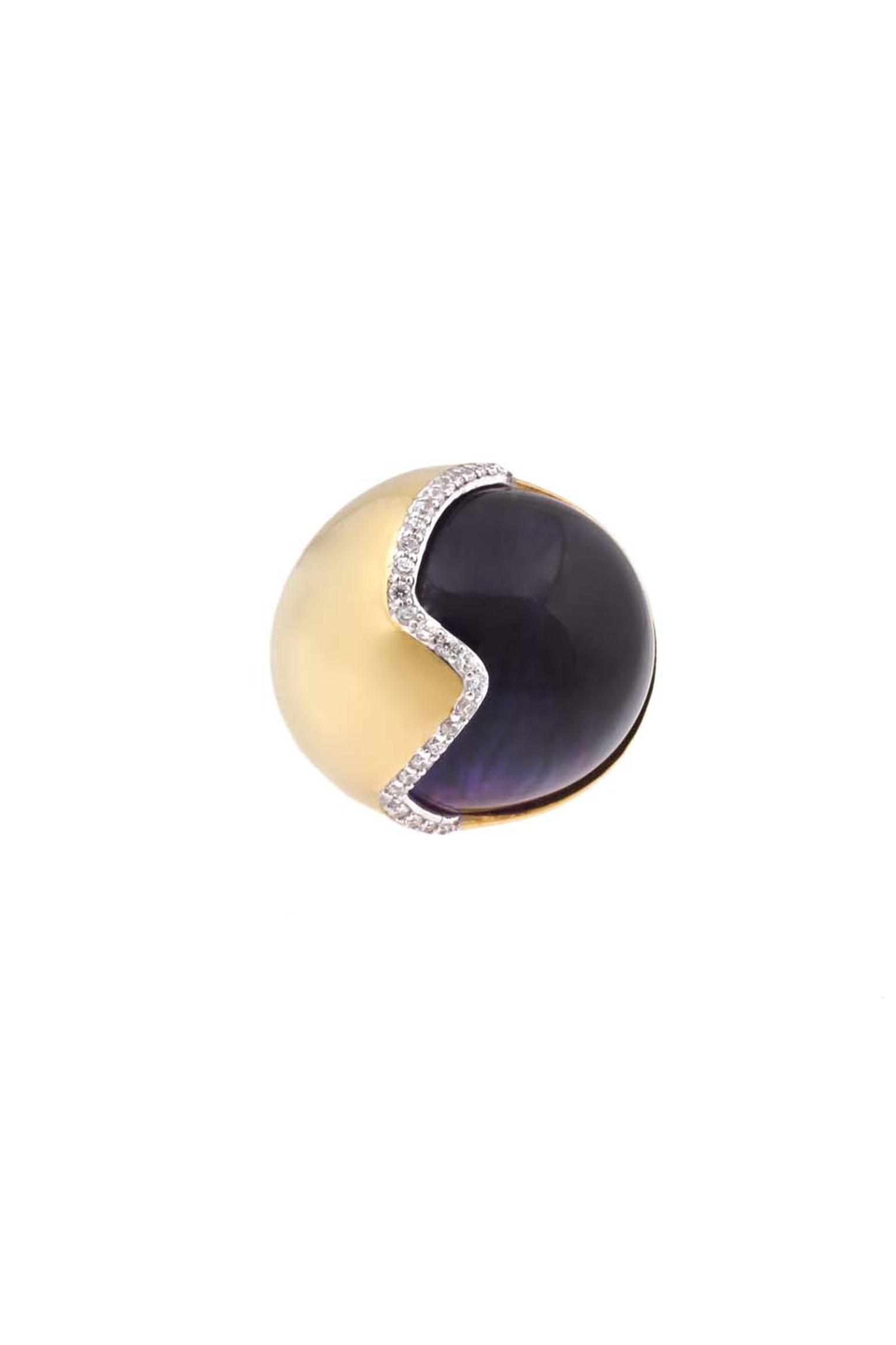 Kara Ross gold Petra smooth contour ring with amethyst and diamonds