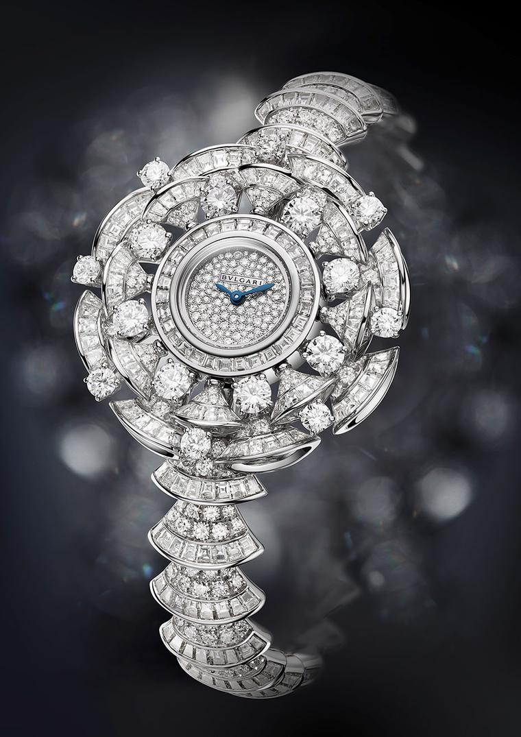Bulgari Diva watch features 302 baguette-cut diamonds, 16 round-cut diamonds and 394 brilliant-cut diamonds adding up to 22.62ct.Bulgari Diva watch features 302 baguette-cut diamonds, 16 round-cut diamonds and 394 brilliant-cut diamonds adding up to 22.62