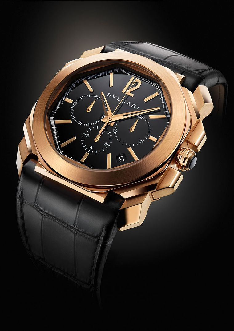 The 41.5mm Bulgari Octo Chronograph in pink gold with an alligator leather strap
