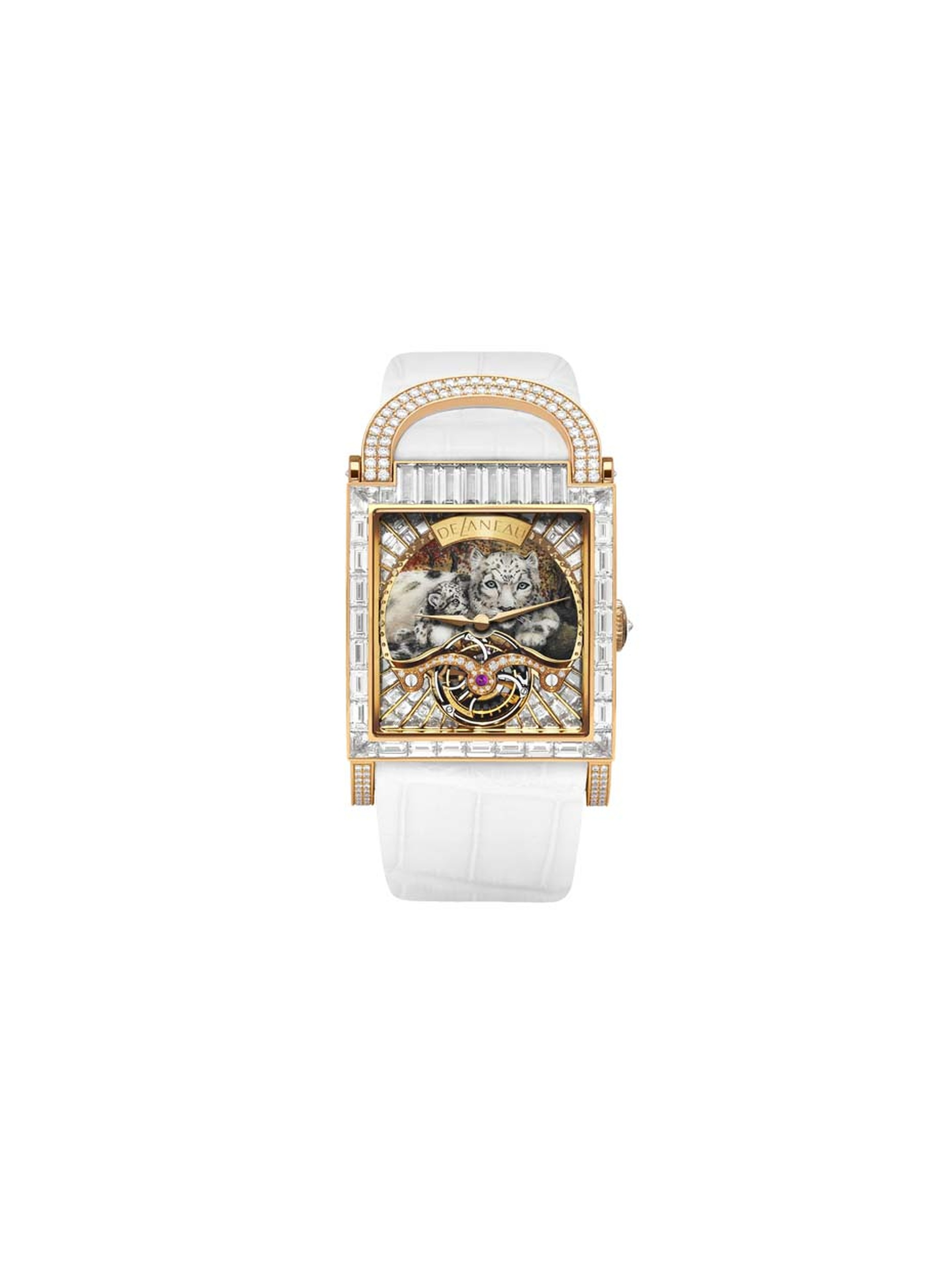 DeLaneau Dôme Tourbillion Leopard Cub features a Grand Feu miniature enamelled dial and a Tourbillon mechanical movement set with 56 baguette-cut diamonds and 24 pave diamonds.