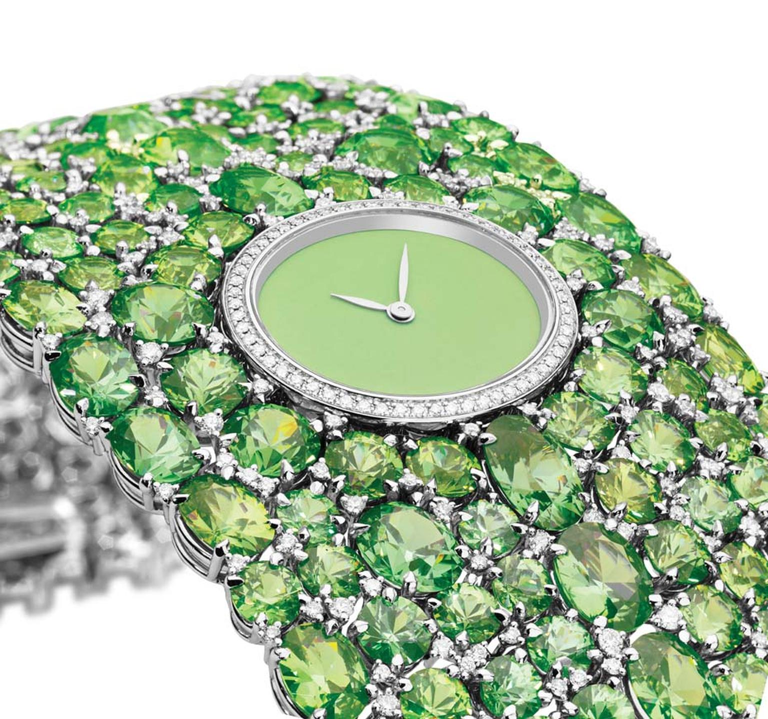 One-of-a-kind DeLaneau Grace Demantoids jewellery watch in white gold with a Grand Feu enamelled dial, set with 245 demantoid garnets and 415 diamonds on the cuff bracelet and a further 58 diamonds on the case