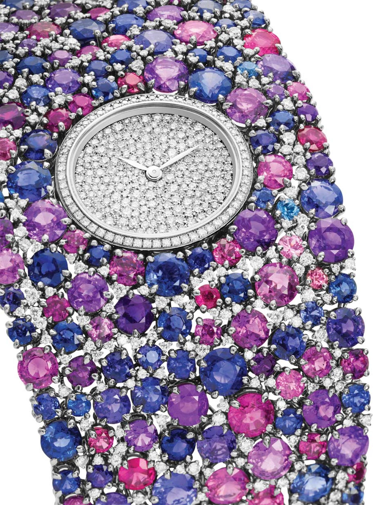 DeLaneau Grace Sapphires jewellery watch in white gold, set with 308 multi-coloured sapphires and 453 diamonds on the bracelet. The dial and case are set with a further 268 diamonds