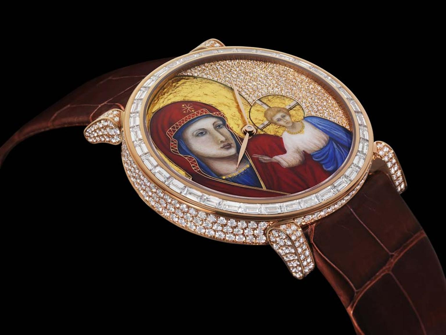The miniature painting on the dial of DeLaneau's Rondo Icon watch is created using Grand Feu enamelling combined with cloisonné and champlevé work for the details on the Virgin's red headdress, surrounded by gold foil pailloné halos