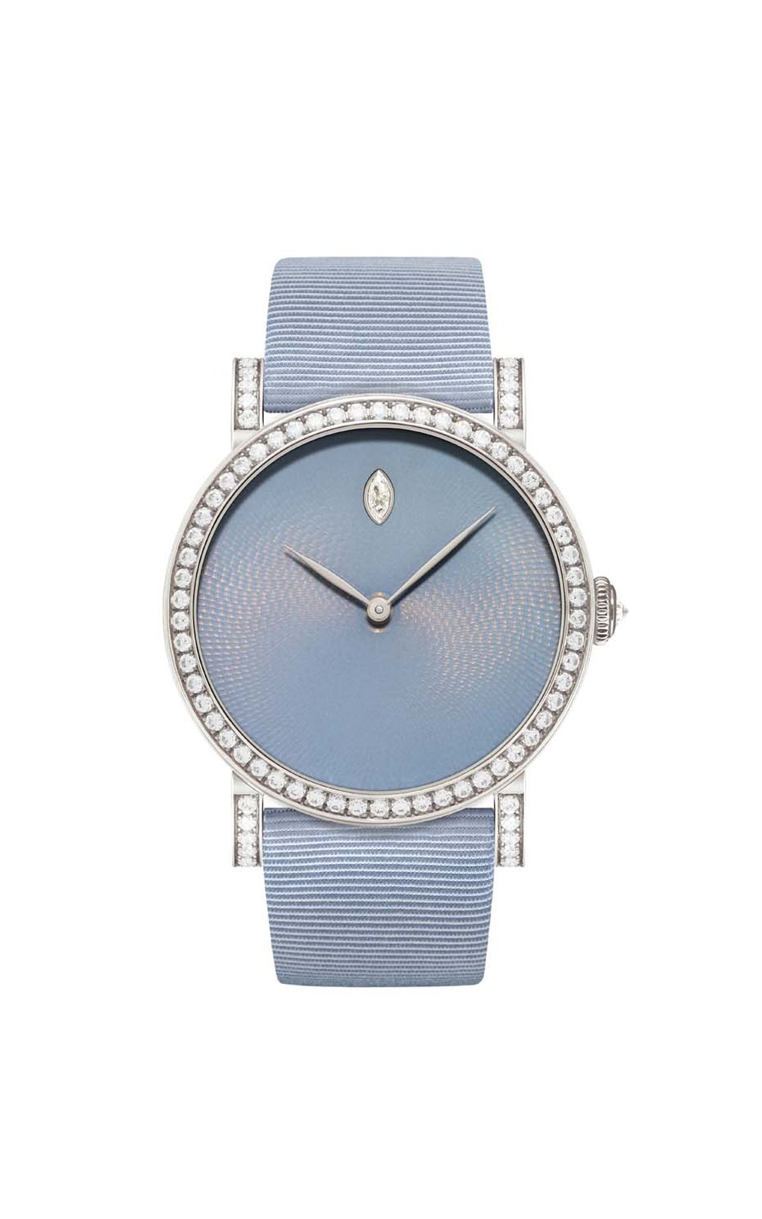 DeLaneau Rondo Translucent Hoar Frost watch with a guilloché enamel dial and diamond-set bezel