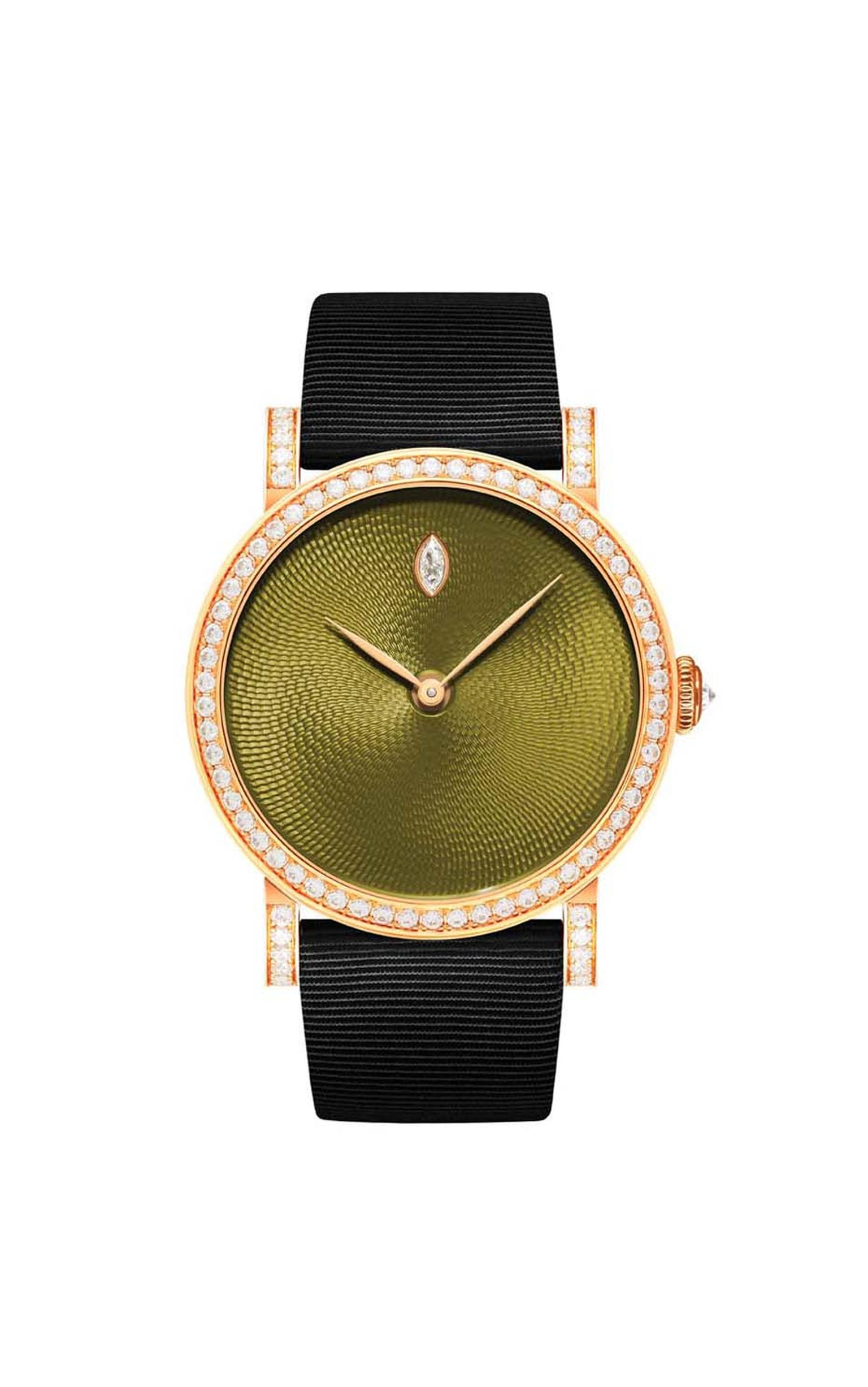 DeLaneau Rondo Translucent Meadow with a guilloché enamel dial and diamond-set bezel