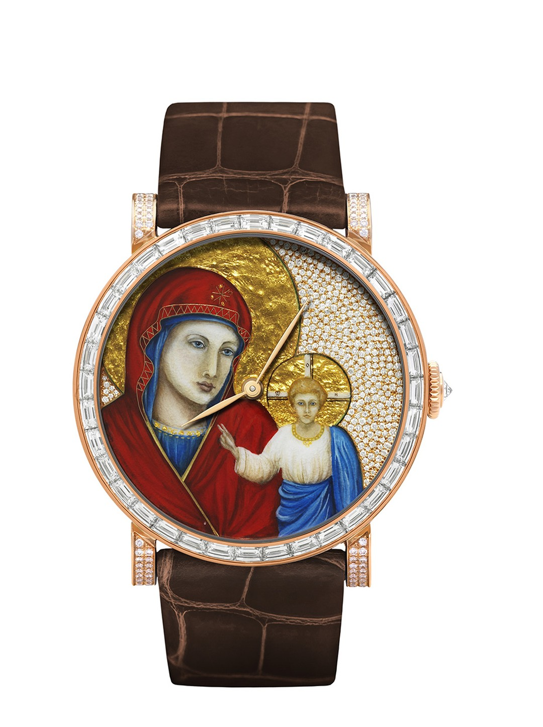 DeLaneau Rondo Icon watch featuring a case with 36 baguette-cut diamonds and 288 brilliant-cut diamonds