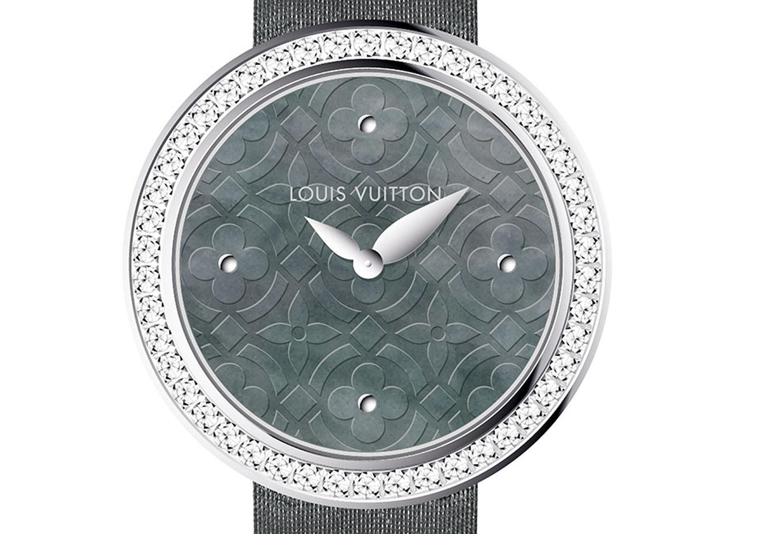 Louis Vuitton Dentelle de Monogram collection watch featuring a grey Polynesian mother-of-pearl dial surrounded by a diamond bezel and a grey satin strap.