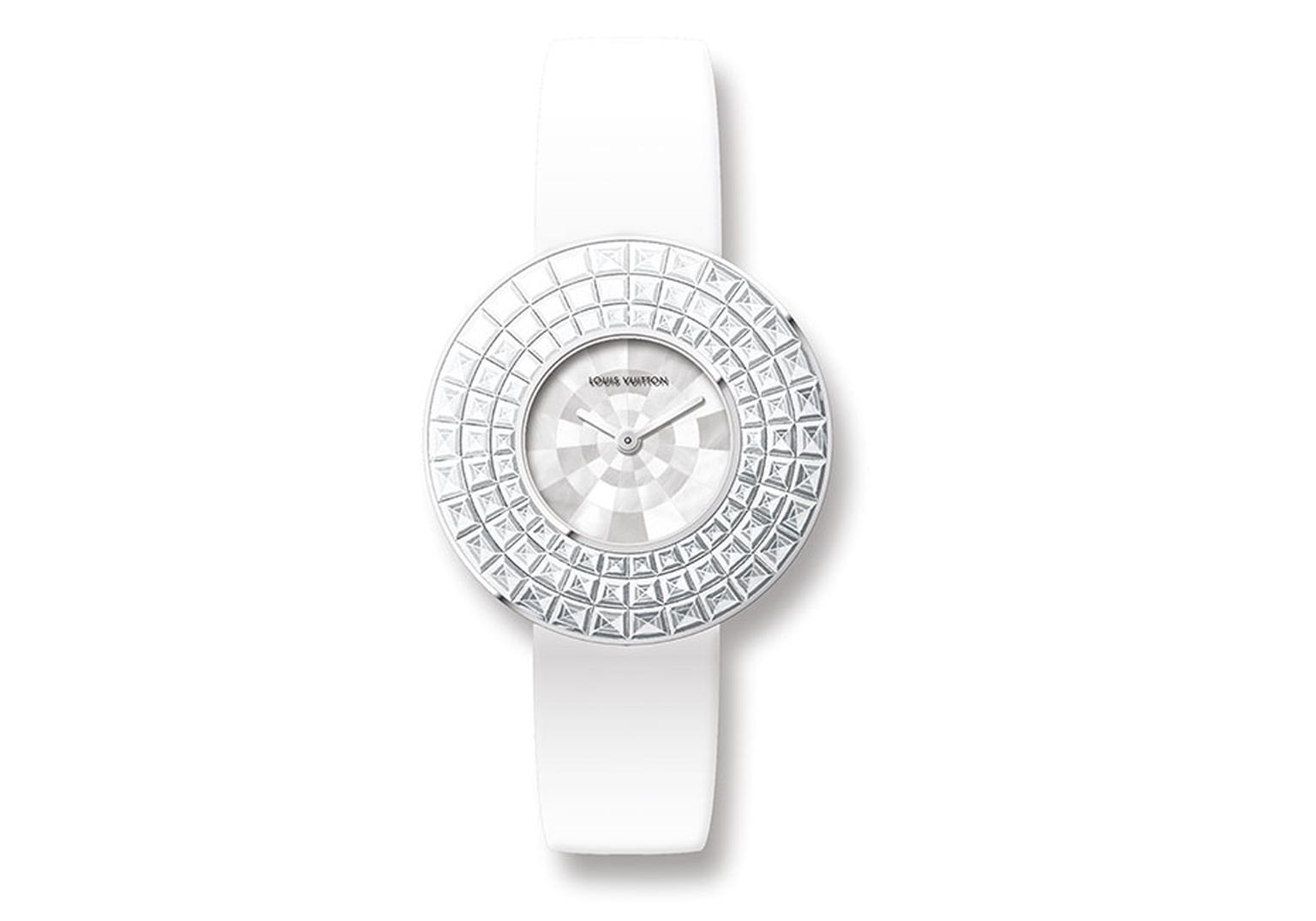 Louis Vuitton Damier Absolu watch in white gold featuring a mother-of-pearl dial encircled by a bezel invisible set with three rows of baguette-cut diamonds