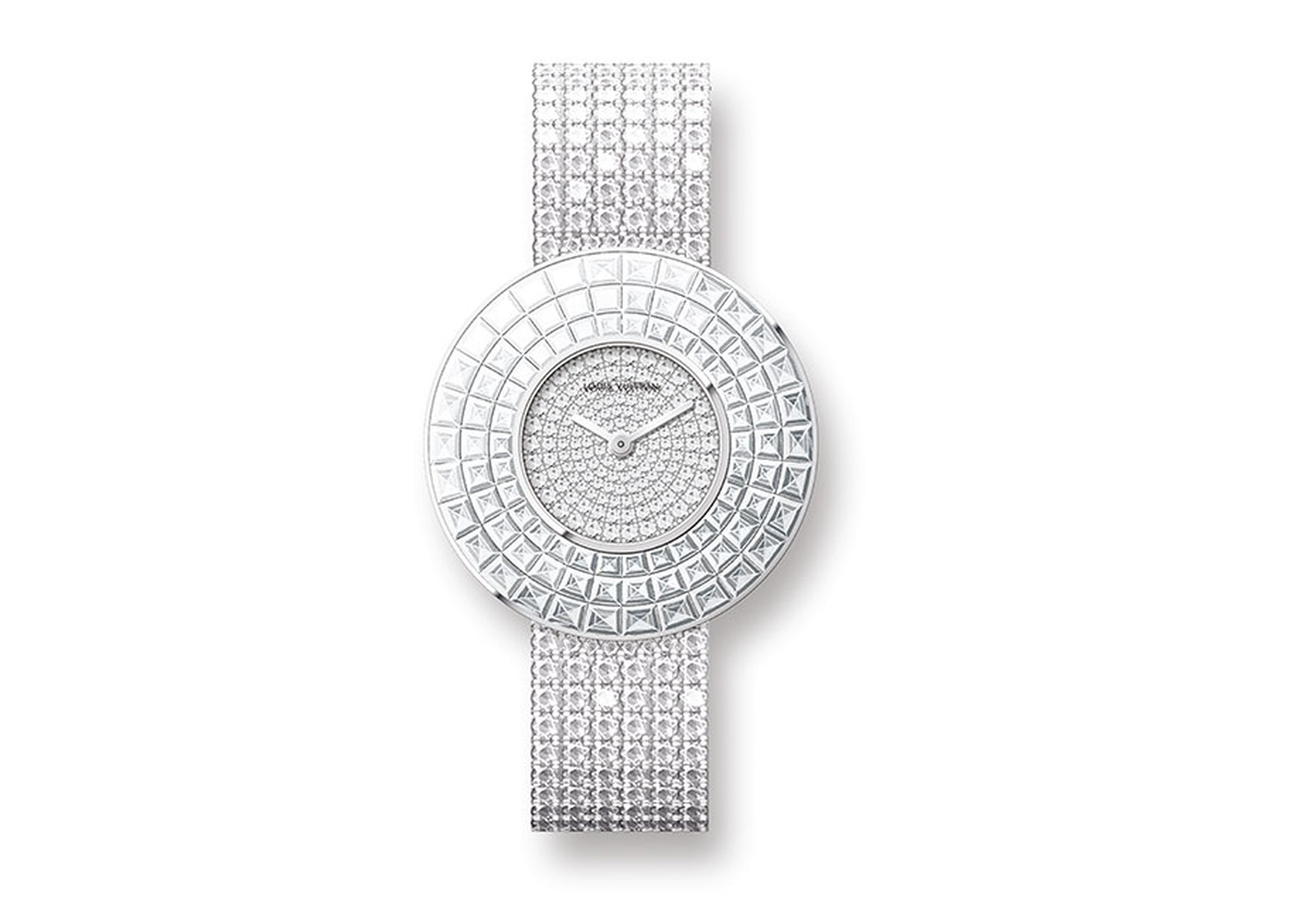 Louis Vuitton white gold Damier Absolu Rivière jewellery watch featuring brilliant-cut diamonds on the dial and bracelet and three rows of invisible set baguette-cut diamonds on the bezel