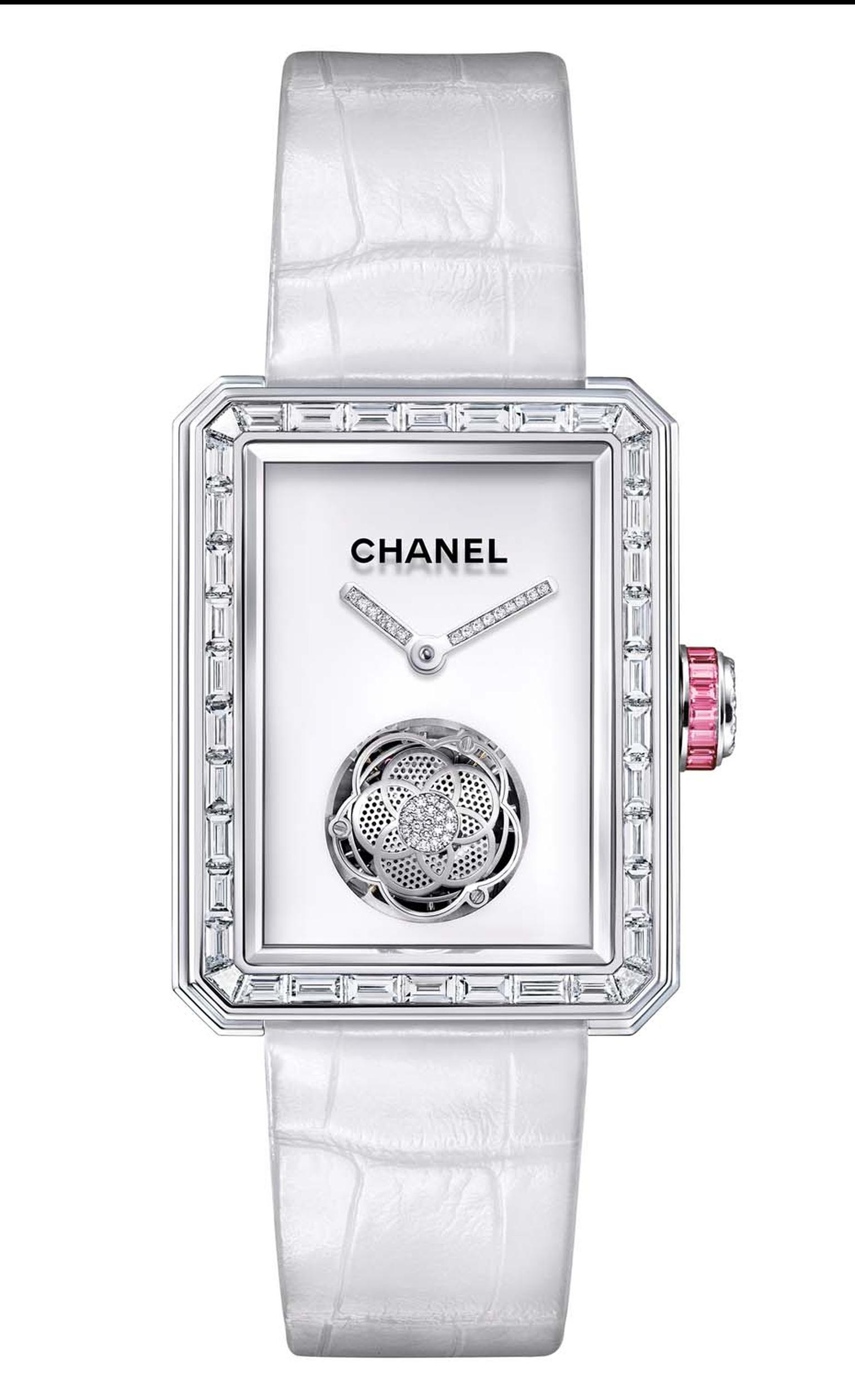 A limited edition of 20 pieces, the flying tourbillon movement in Chanel's new Première Flying Tourbillon watch is crafted in the shape of Mademoiselle Chanel's favourite flower, the camellia