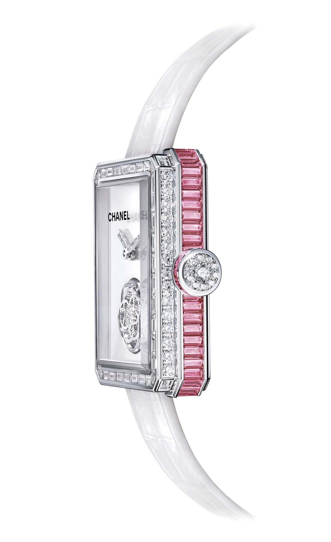 The shape of Chanel's Première collection of watches is inspired by the octagonal geometry of Place Vendôme and echoed in the N°5 perfume bottle stopper