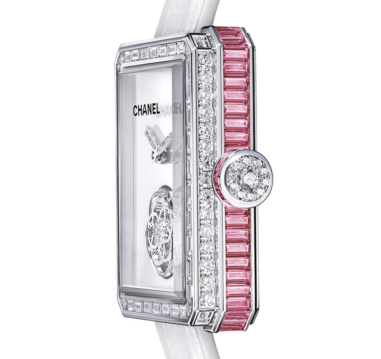 Chanel's new Première Flying Tourbillon watch for 2014 in white gold is set with 169 diamonds and 63 pink sapphires