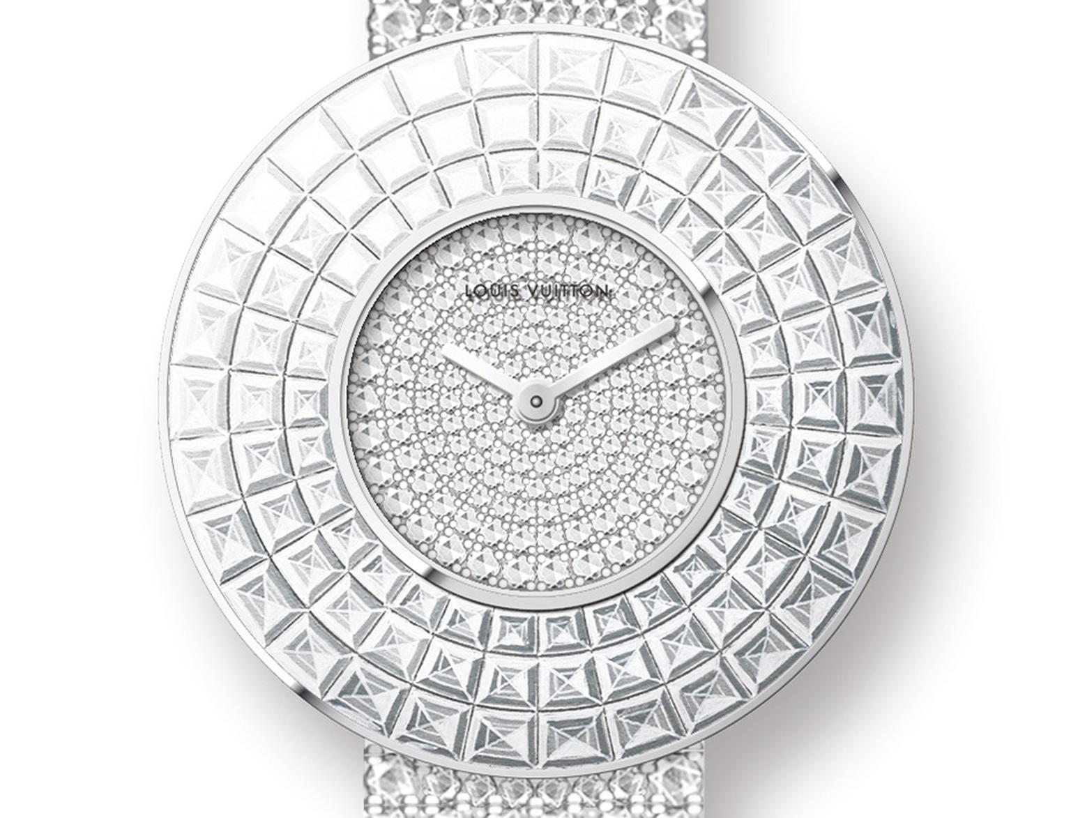 Louis Vuitton's white gold Damier Absolu Rivière watch features brilliant-cut diamonds on the dial and bracelet and is invisible set with three rows of baguette-cut diamonds on the bezel.