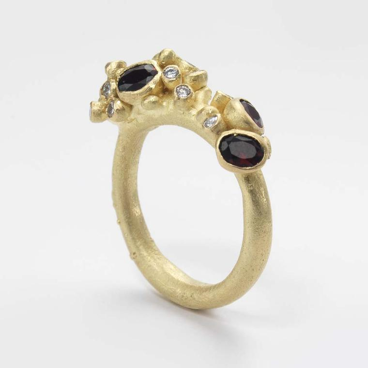 Ruth Tomlinson garnet encrusted gold ring