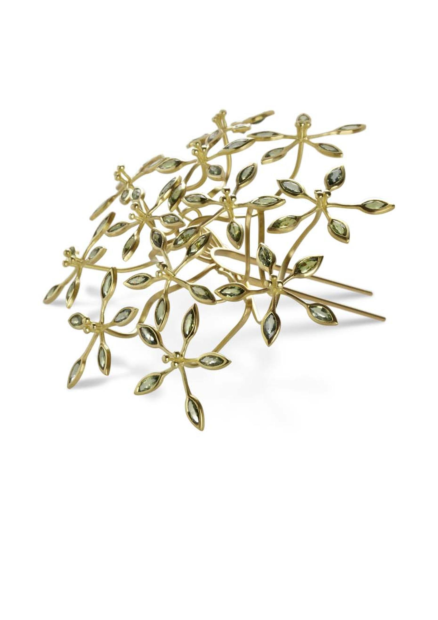 Jo Thorne Passion Flower gold hairpin set with 60 green sapphires.