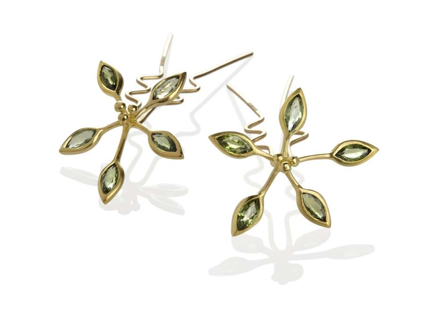 Jo Thorne Passion Flower gold hairpins set with green sapphires.
