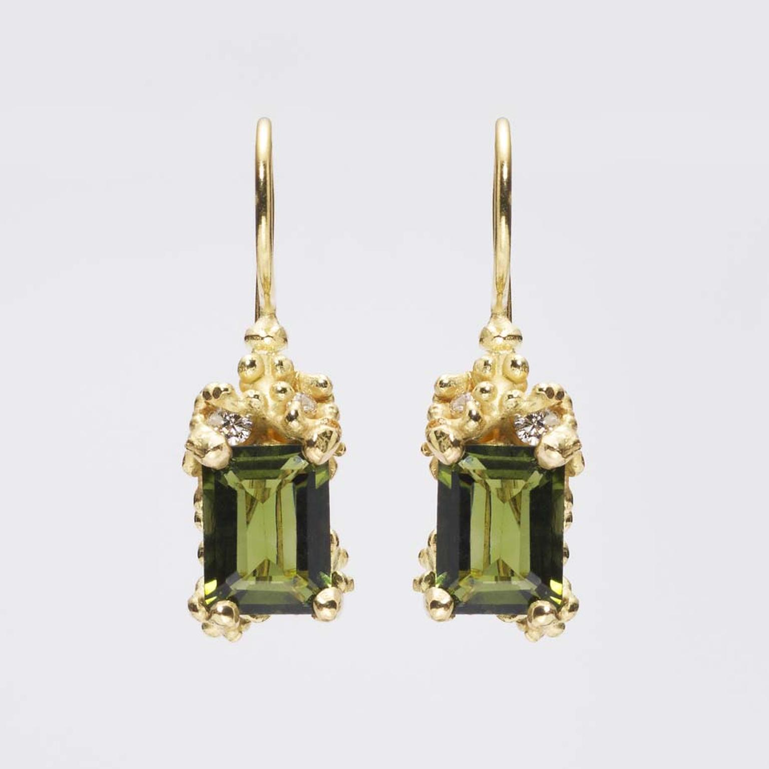 Ruth Tomlinson tourmaline and diamond drop earrings.