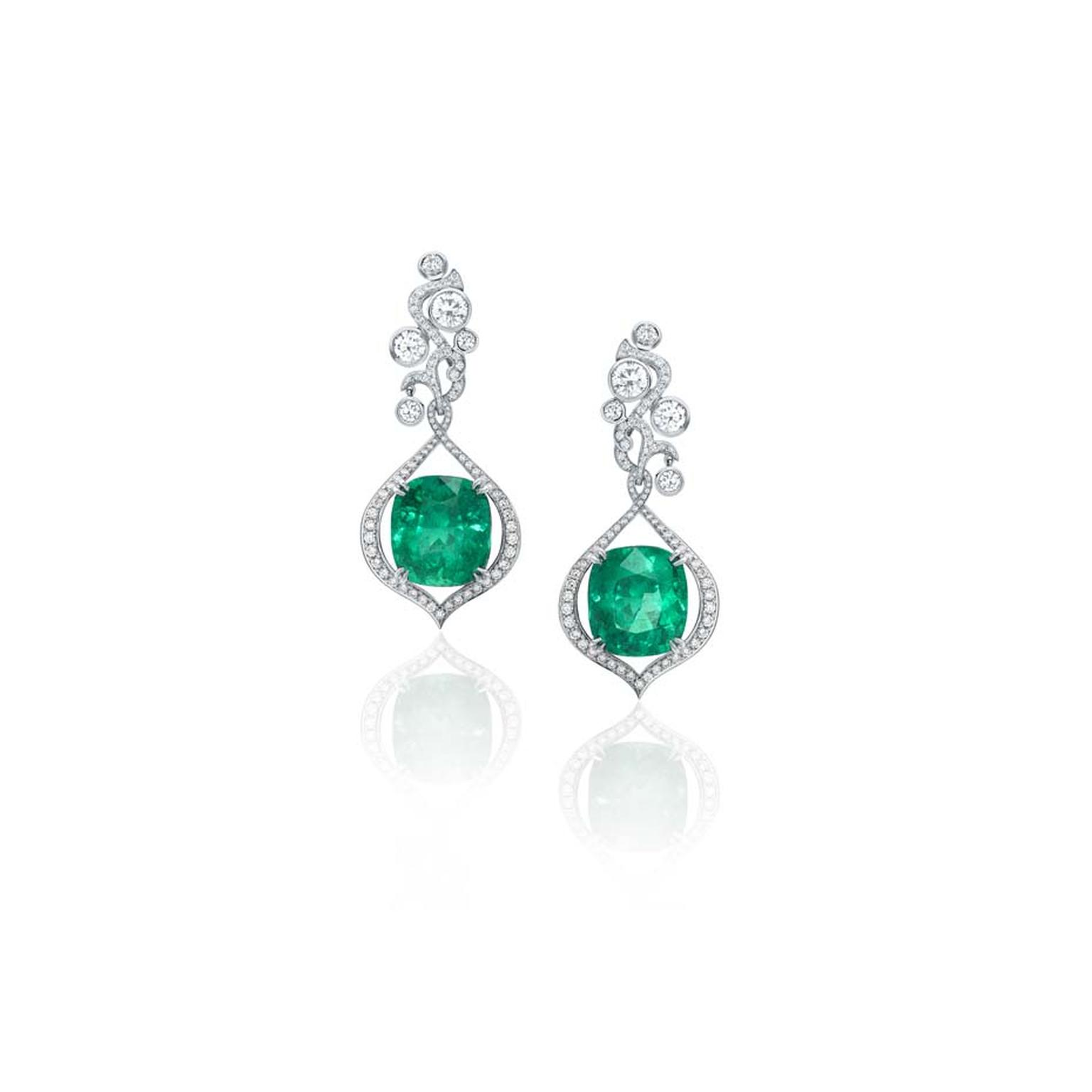 Boodles Greenfire emerald earrings featuring pave diamonds and brilliant-cut diamonds.