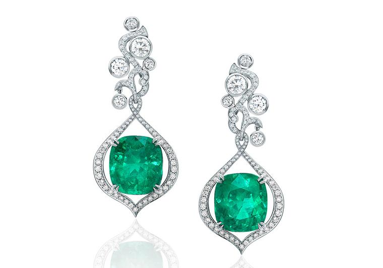 Boodles Greenfire emerald earrings, accentuated by pavé diamonds and brilliant-cut diamonds. The emeralds are two of the 18 Colombian emeralds used in Boodles' Greenfire suite, which originate from the famed Muzo mines
