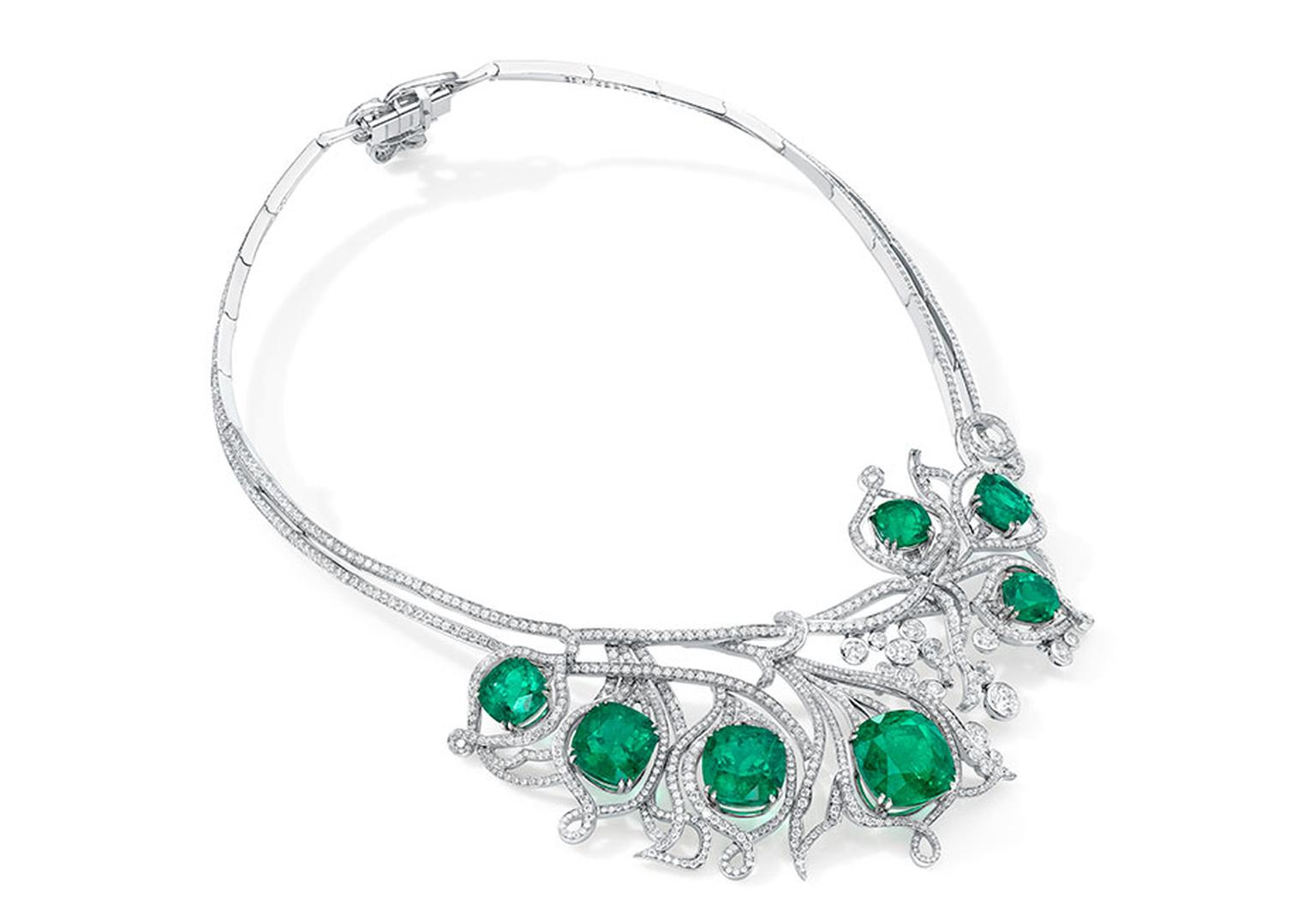Boodles' Emerald Greenfire necklace is set with 46.20ct of cushion-cut emeralds and 17.38ct of brilliant-cut diamonds