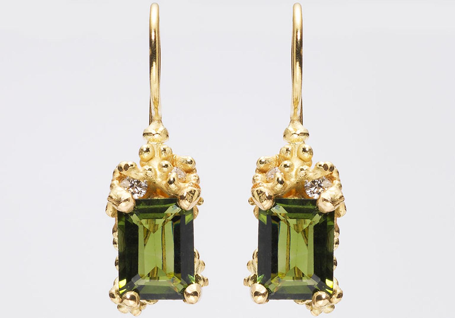 Ruth Tomlinson tourmaline and diamond drop earrings