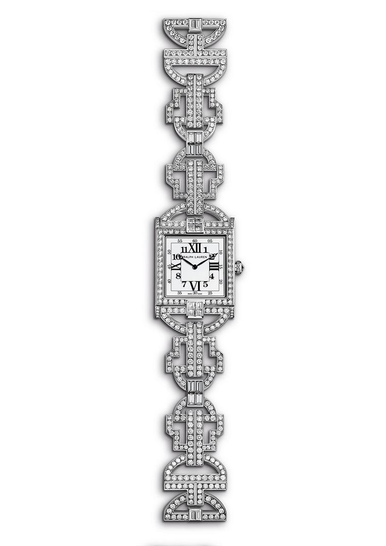 Named after Ralph Lauren's historic store at 867 Madison Avenue, New York, the white gold RL 867 watch sparkles with pavé diamonds on every facet, including the bezel, case, bracelet and clasp
